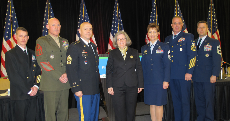 Military Senior Enlisted Leaders who participated in a Financial Fitness Forum panel to provide insight linking financial fitness to mission readiness.