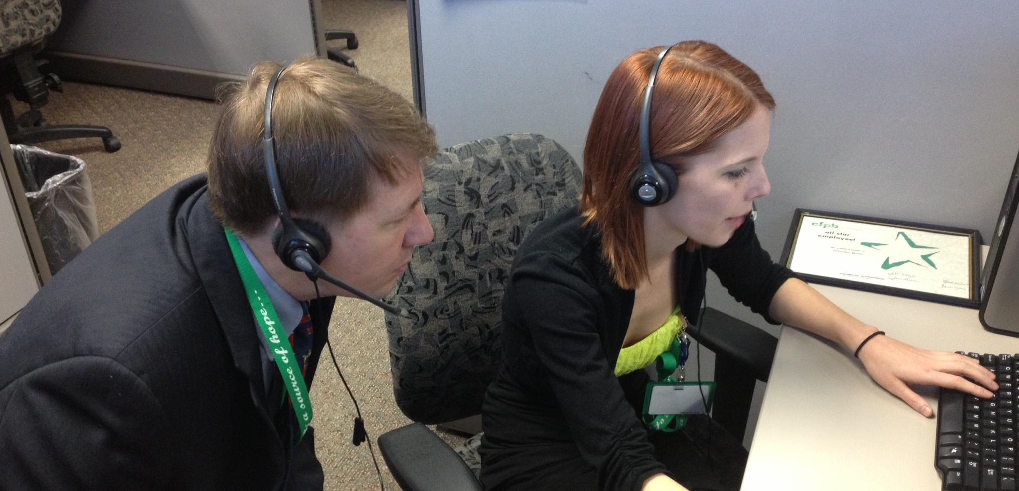 CFPB director at a call center