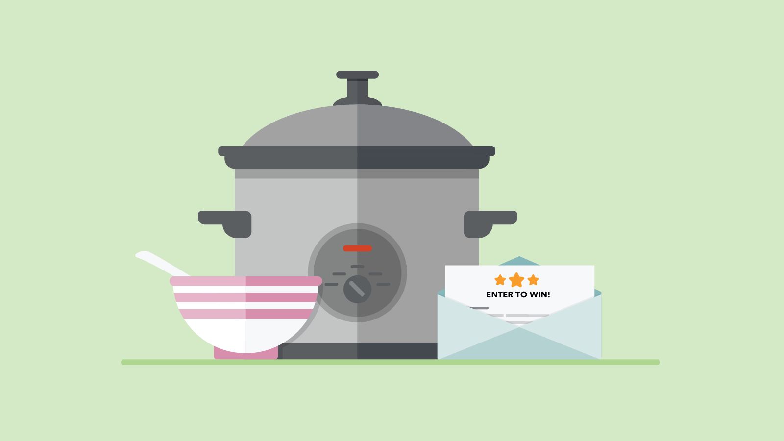 Graphic of a bowl, slow cooker and envelope