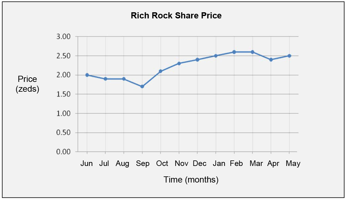 This graph shows the price of one Rich Rock share over a 12-month period.