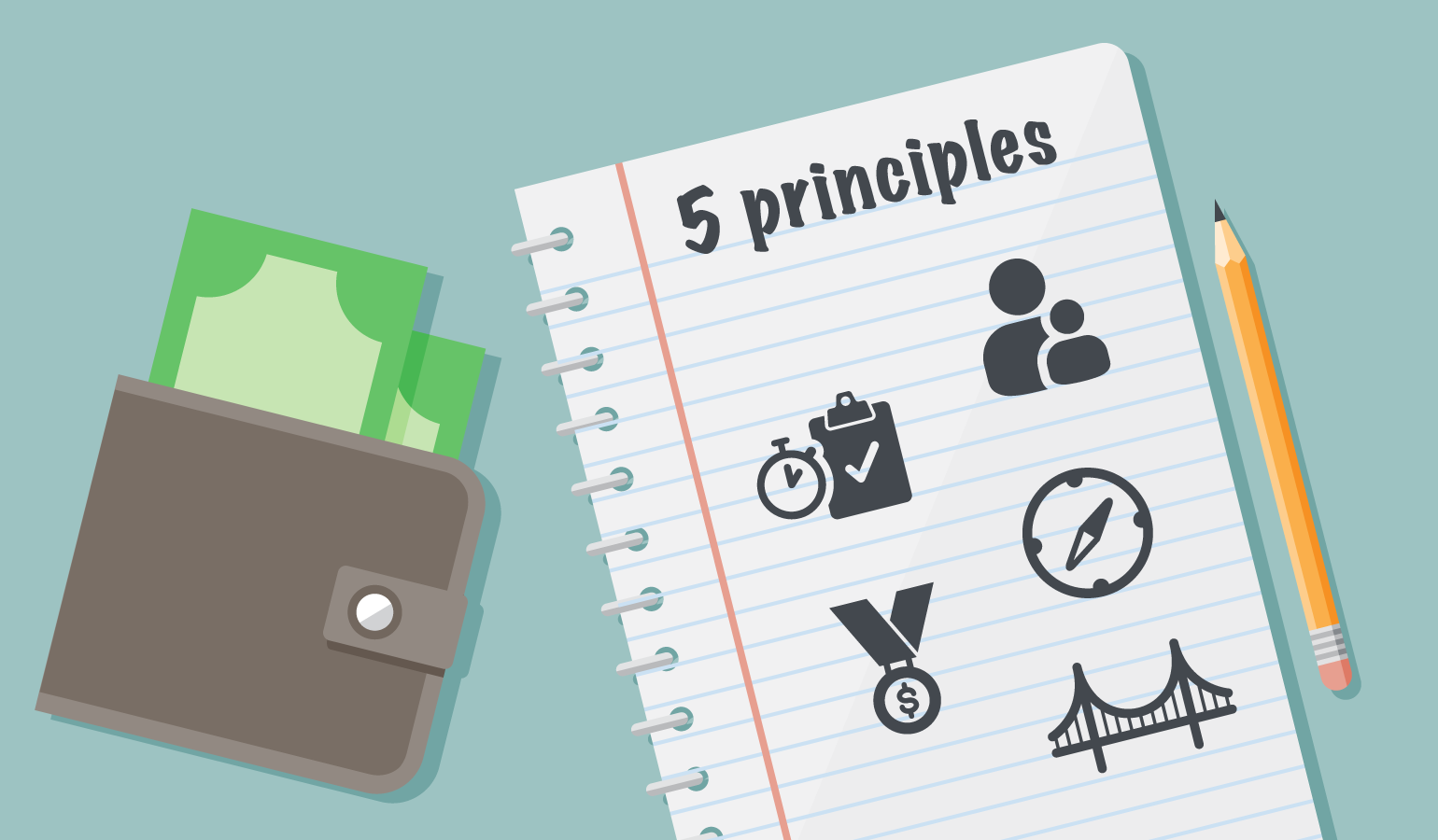 Notebook sketch of icons showing 5 financial education principles