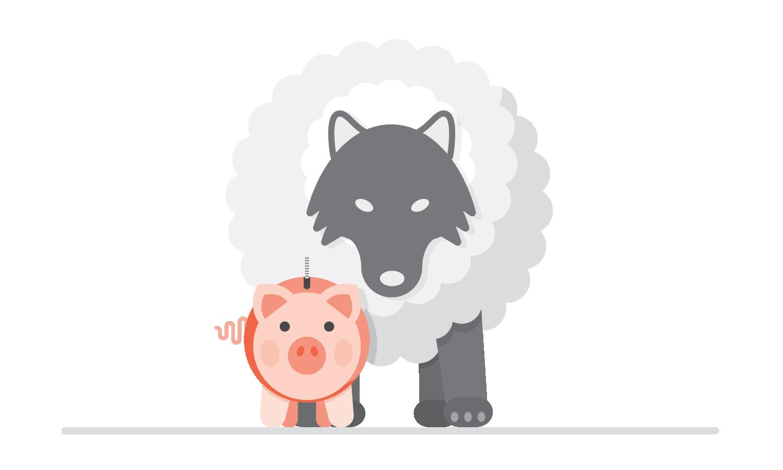 Wolf in a cloud behind a piggy bank