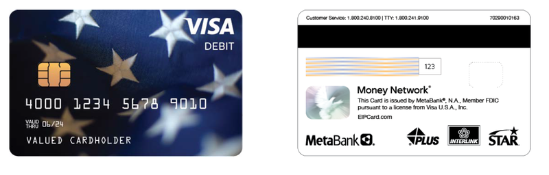 Photograph example of the Economic Impact Payment VISA prepaid debit card