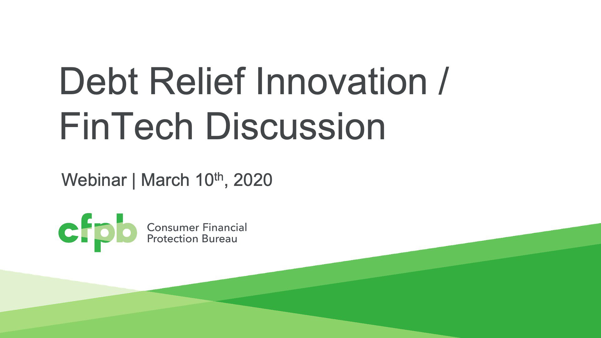 Session 3: Debt Relief Innovation/FinTech Discussion