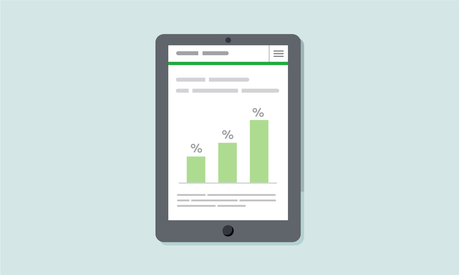 Illustration of an iPad displaying a bar chart