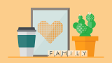 Scene with a coffee cup, the word family, and a frame